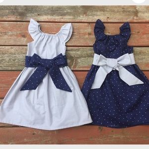 Matching Sibling Sister Dress Gray Navy Polka Dot